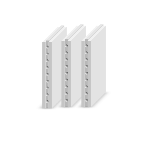 Плиты гипсовые пазогребневые пустотелые стандартные 667х500х80