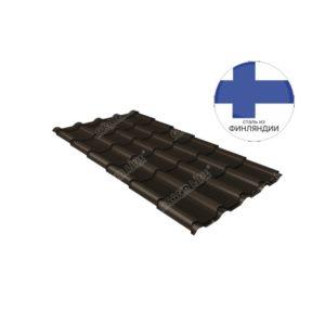 Металлочерепица камея GL 0,5 GreenCoat Pural matt RR 32 темно-коричневый (RAL 8019 серо-коричневый)