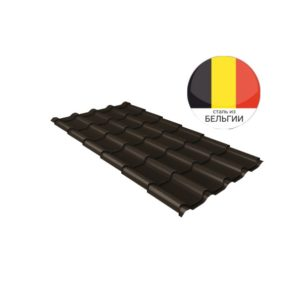Металлочерепица камея GL 0,5 Quarzit RR 32 темно-коричневый