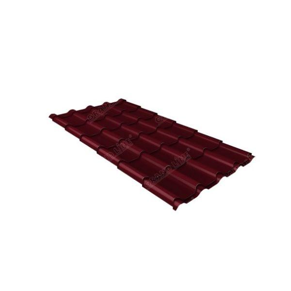 Металлочерепица камея 0,45 PE RAL 3005 красное вино