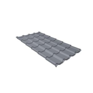 Металлочерепица камея 0,45 PE RAL 9006 бело-алюминиевый