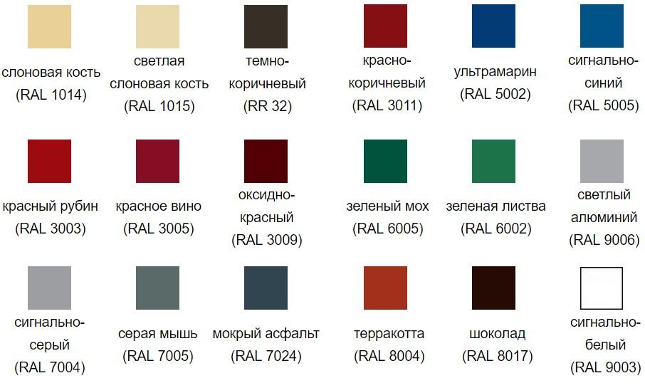 Цветовая палитра Полиэстер Grand Line металлочерепица Kamea