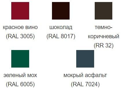 Цветовая палитра Polydexter Grand Line металлочерепица Kredo