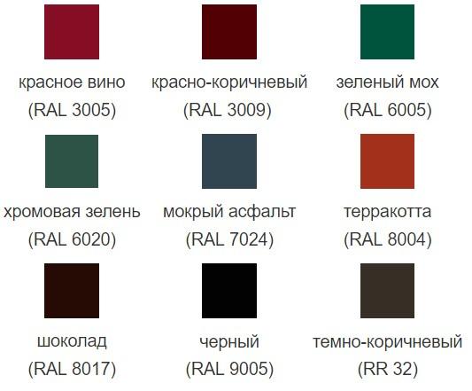 Цветовая палитра Velur (Велюр) Grand Line металлочерепица Kvinta plus