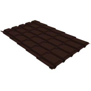 Металлочерепица квадро 0,45 PE RAL 8017 шоколад