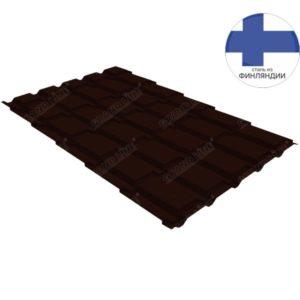Металлочерепица квадро GL 0,5 GreenCoat Pural RR 32 темно-коричневый (RAL 8019 серо-коричневый)