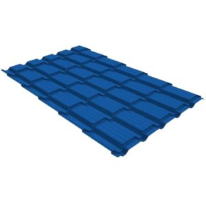 Металлочерепица квадро GL 0,5 PE RAL 5005 сигнальный синий