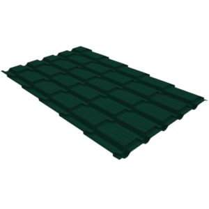 Металлочерепица квадро GL 0,5 PE RAL 6005 зеленый мох