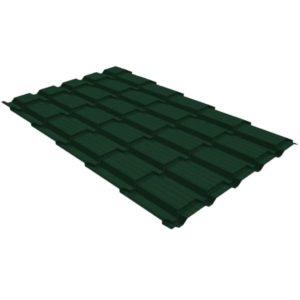 Металлочерепица квадро GL 0,5 PE RR 11 темно-зеленый