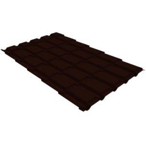 Металлочерепица квадро GL 0,5 PE RR 32 темно-коричневый