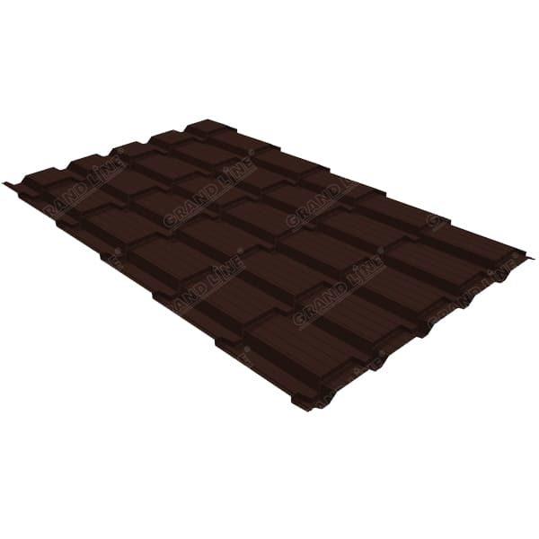 Металлочерепица квадро GL 0,5 Velur RAL 8017 шоколад