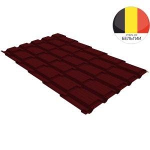 Металлочерепица квадро GL 0,5 Velur20 RAL 3005 красное вино