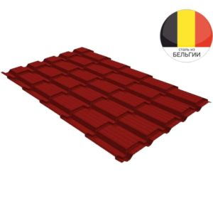 Металлочерепица квадро GL 0,5 Velur20 RAL 3011 коричнево-красный