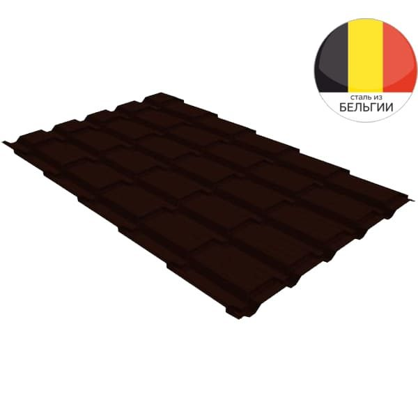 Металлочерепица квадро GL 0,5 Velur20 RR 32 темно-коричневый