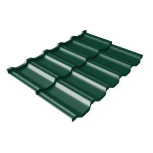 Металлочерепица модульная квинта Uno GL c 3D резом 0,45 Drap RAL 6005 зеленый мох