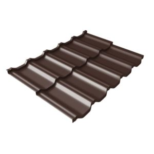 Металлочерепица модульная квинта Uno GL c 3D резом 0,45 Drap RAL 8017 шоколад