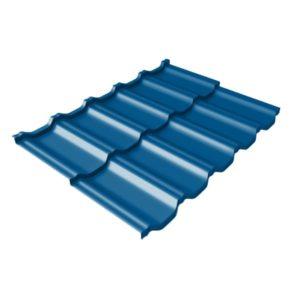 Металлочерепица модульная квинта Uno GL c 3D резом 0,45 PE RAL 5005 сигнальный синий