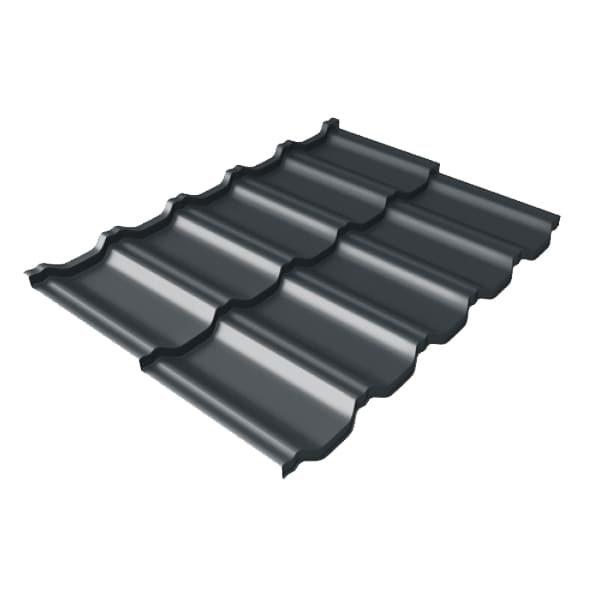 Металлочерепица модульная квинта Uno GL c 3D резом 0,5 Стальной бархат RAL 7016 антрацитово-серый