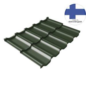 Металлочерепица модульная квинта Uno GL c 3D резом 0,5 GreenСoat Pural Matt RR 11 темно-зеленый (RAL 6020 хромовая зелень)
