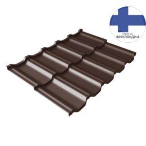 Металлочерепица модульная квинта Uno GL c 3D резом 0,5 GreenСoat Pural Matt RR 887 шоколадно-коричневый (RAL 8017 шоколад)
