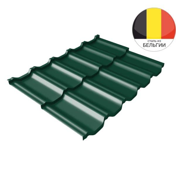 Металлочерепица модульная квинта Uno GL c 3D резом 0,5 Quarzit RAL 6005 зеленый мох