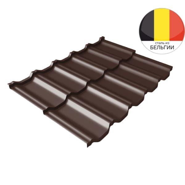 Металлочерепица модульная квинта Uno GL c 3D резом 0,5 Quarzit RAL 8017 шоколад