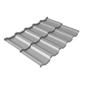 Металлочерепица модульная квинта Uno GL c 3D резом 0,5 Satin RAL 7004 сигнальный серый