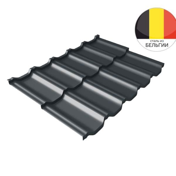 Металлочерепица модульная квинта Uno GL c 3D резом 0,5 Velur20 RAL 7016 антрацитово-серый