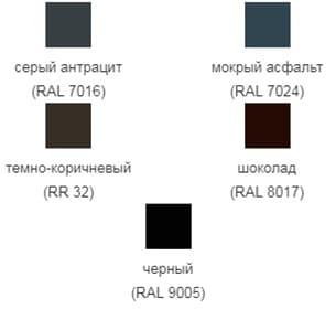 Стальной Бархат Grand Line металлочерепица Kredo палитра