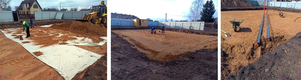 Подготовка подушки фундамента перед заливкой бетона