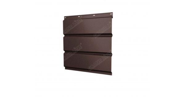 Софит металлический без перфорации 0,5 Quarzit с пленкой RAL 8017 шоколад