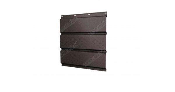 Софит металлический центральная перфорация 0,5 Quarzit с пленкой RR 32 темно-коричневый