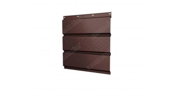 Софит металлический центральная перфорация 0,5 Quarzit с пленкой RAL 8017 шоколад Metallic