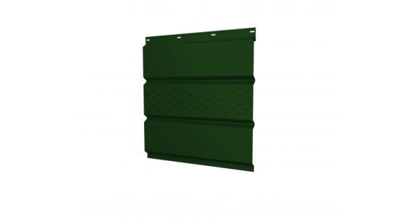Софит металлический центральная перфорация 0,5 Quarzit с пленкой RAL 6005 зеленый мох