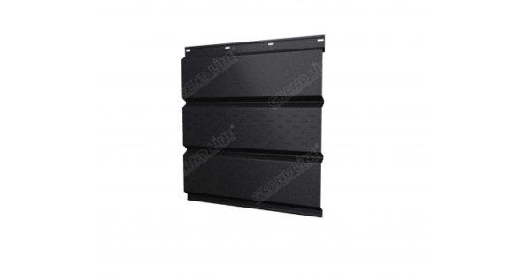 Софит металлический центральная перфорация 0,5 GreenCoat Pural Matt с пленкой RR 33 черный (RAL 9005 черный)