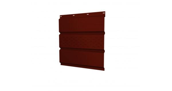 Софит металлический центральная перфорация 0,5 GreenCoat Pural с пленкой RR 29 красный (RAL 3009 оксидно-красный)