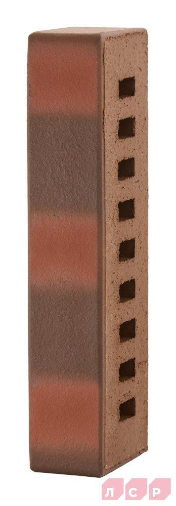 Клинкер фасадный темно-красный флэшинг пестрый 0,61NF гладкий
