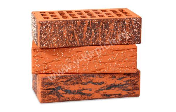 Кирпич лицевой керамический одинарный красный кварц руст М150 Воротынский