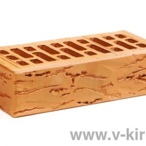 Кирпич лицевой керамический одинарный персиковый руст М175 Воротынский