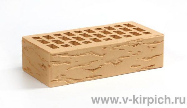 Кирпич лицевой керамический одинарный соломенный руст М175 Воротынский